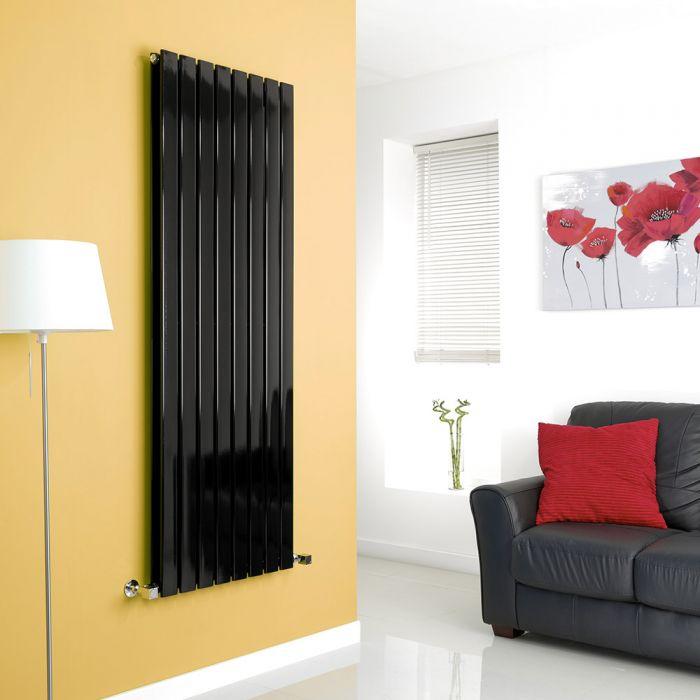 Milano High-Gloss Black Vertical Double Slim Panel Designer Radiator 1600mm x 560mm