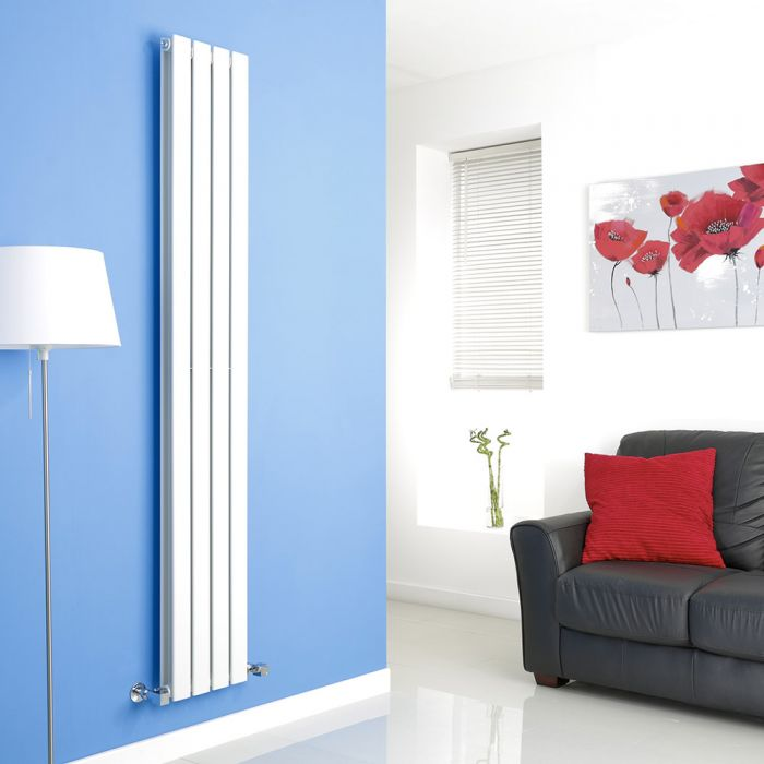 Milano White Vertical Double Slim Panel Designer Radiator 1780mm x 280mm