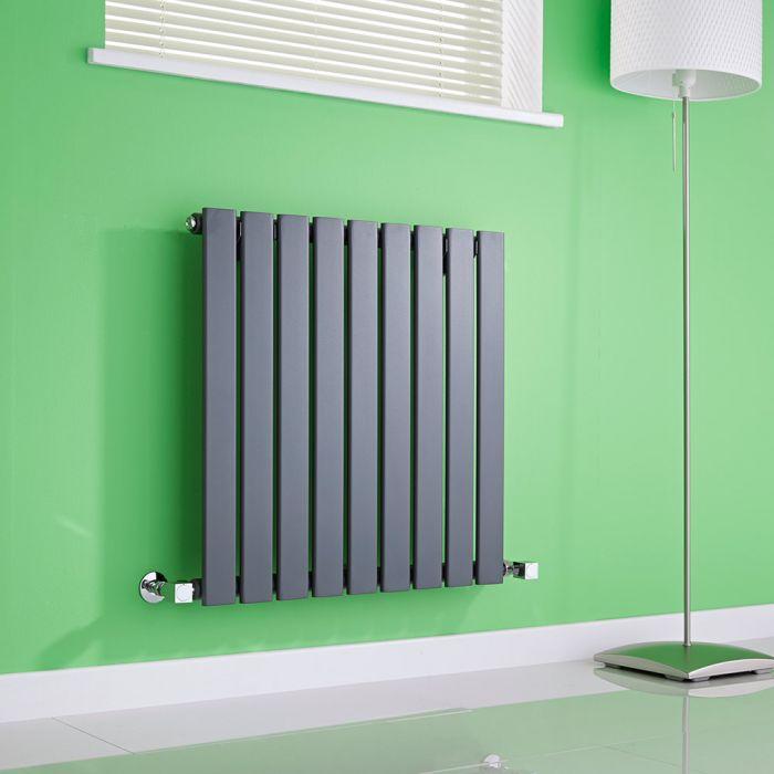 Milano Alpha - Anthracite Horizontal Single Slim Panel Designer Radiator 635mm x 630mm