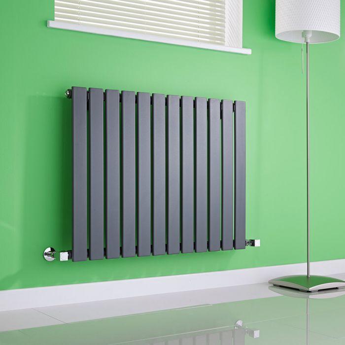 Milano Alpha - Anthracite Horizontal Single Slim Panel Designer Radiator 635mm x 840mm