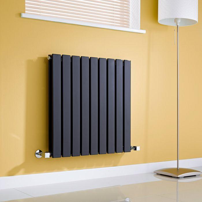 Milano Alpha - Gloss Black Horizontal Double Slim Panel Designer Radiator 635mm x 630mm