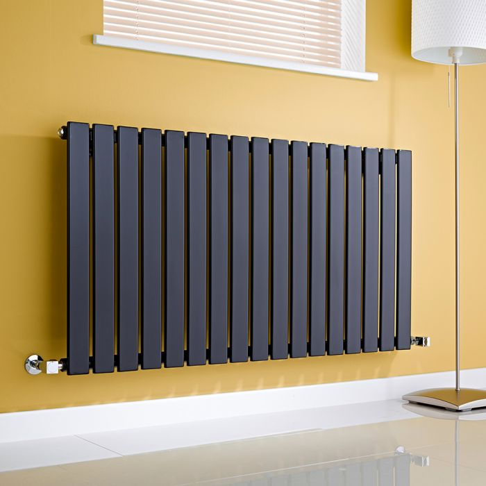 Milano Alpha - Gloss Black Horizontal Single Slim Panel Designer Radiator 635mm x 1190mm