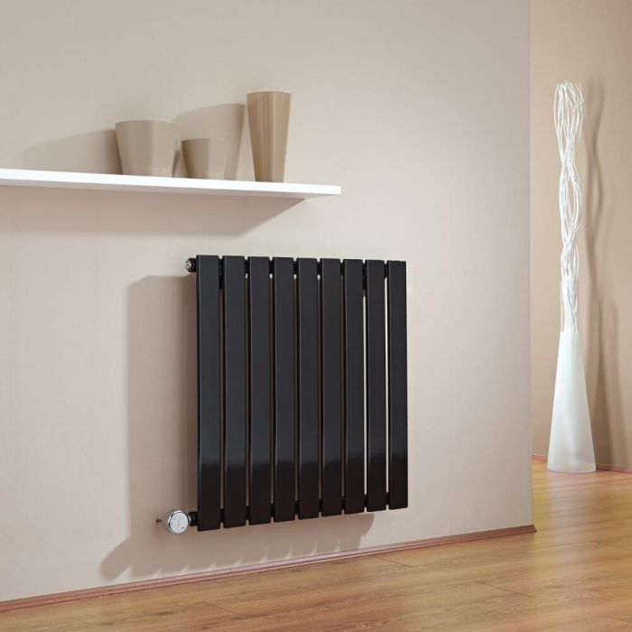 Milano Alpha - Black Horizontal Single Slim Panel Electric Designer Radiator 635mm x 630mm
