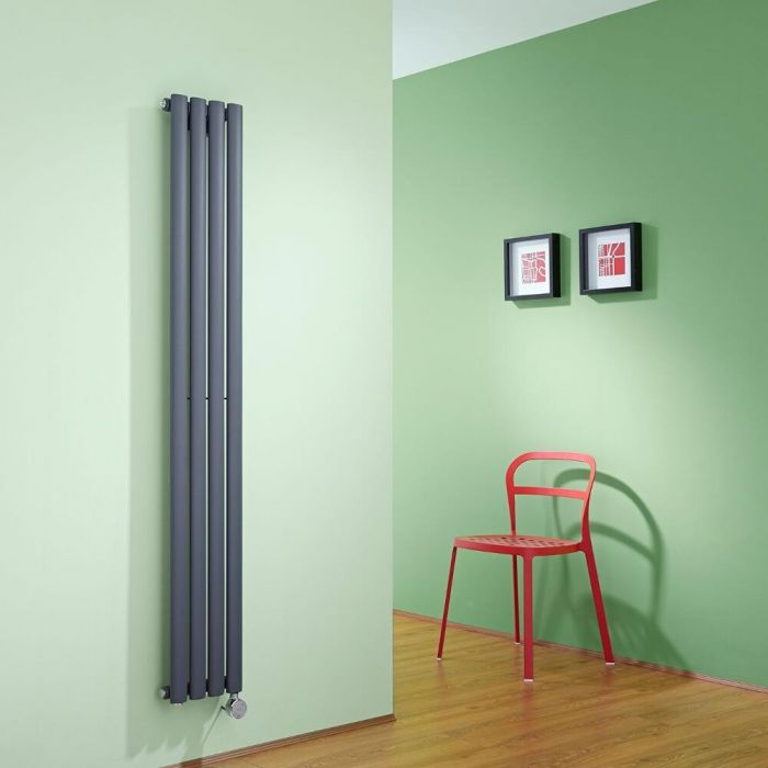 Milano Aruba Slim - Anthracite Space-Saving Vertical Electric Designer Radiator 1600mm x 236mm