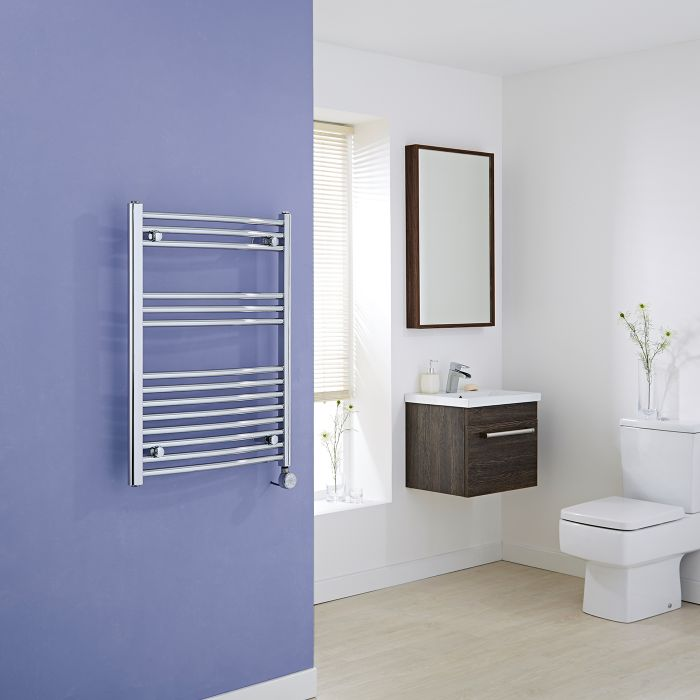 Milano Ribble Electric - Curved Chrome Heated Towel Rail 800mm x 600mm