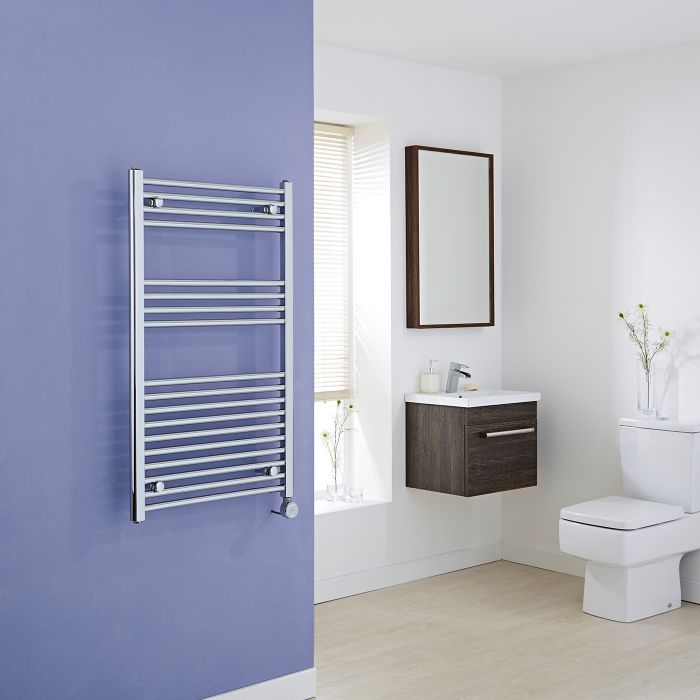 Milano Ribble Electric - Flat Chrome Heated Towel Rail 1000mm x 600mm