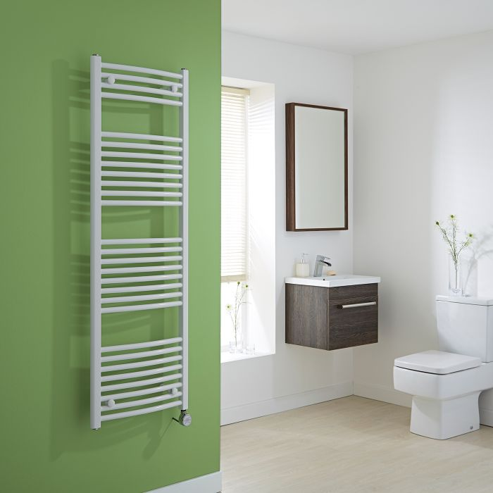 Milano Calder Electric - Curved White Heated Towel Rail 1500mm x 500mm