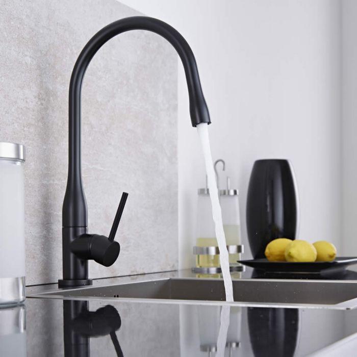 Milano Single Lever Swivel Spout Kitchen Sink Mixer Tap - Black