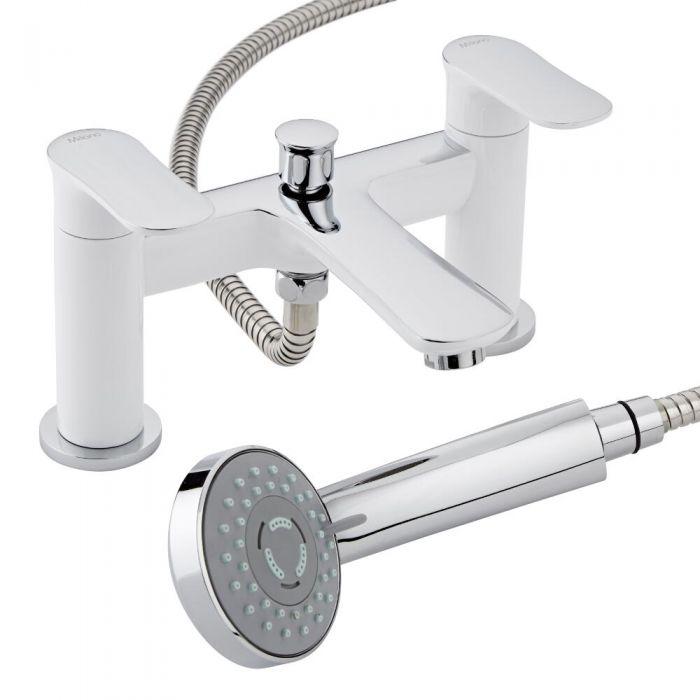 Milano Marden Bath Shower Mixer Tap with Handset & Bracket Chrome White