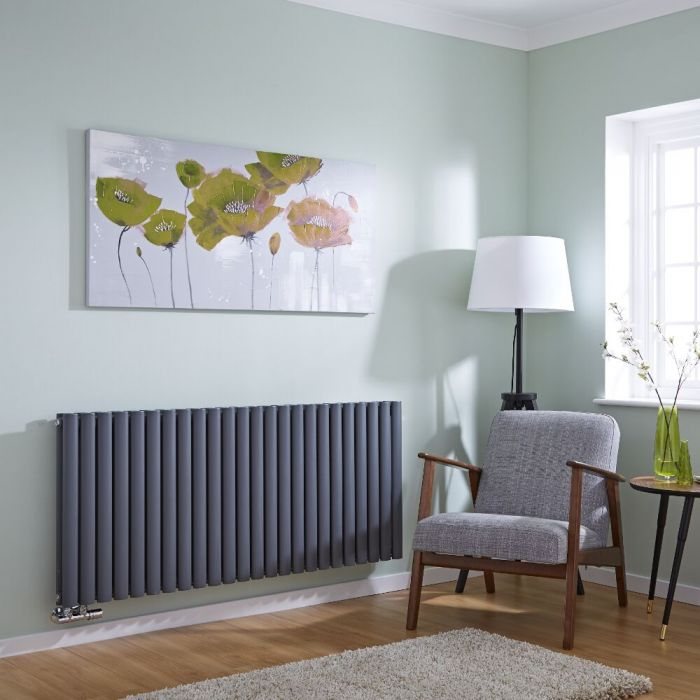 Milano Aruba Flow - Anthracite Horizontal Double Middle Connection Designer Radiator 635 x 1411mm