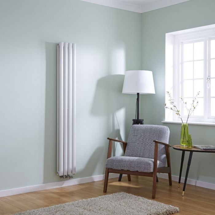 Milano Aruba Flow - White Vertical Double Panel Middle Connection Designer Radiator 1600x236mm