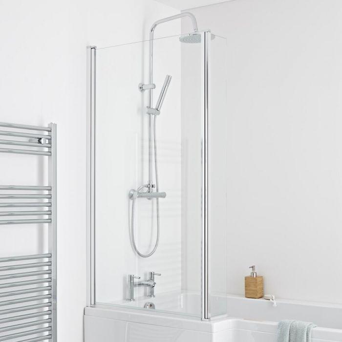 Milano Portland L Shaped Shower Bath Screen 6mm Glass