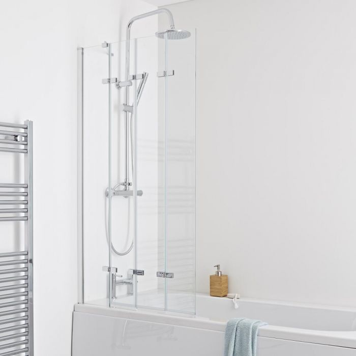 Milano Portland Folding Shower Bath Screen 5mm Glass