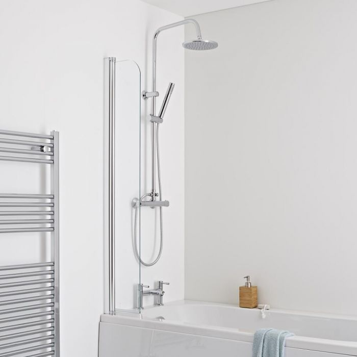 Milano Portland Splash Shower Guard Bath Screen 6mm Glass