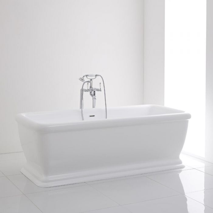 Milano Ashford Square Double Ended Freestanding Bath with Waste 1740 x 800mm