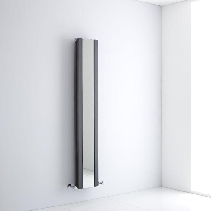 Milano Icon - Anthracite Vertical Mirrored Designer Radiator 1600mm x 265mm