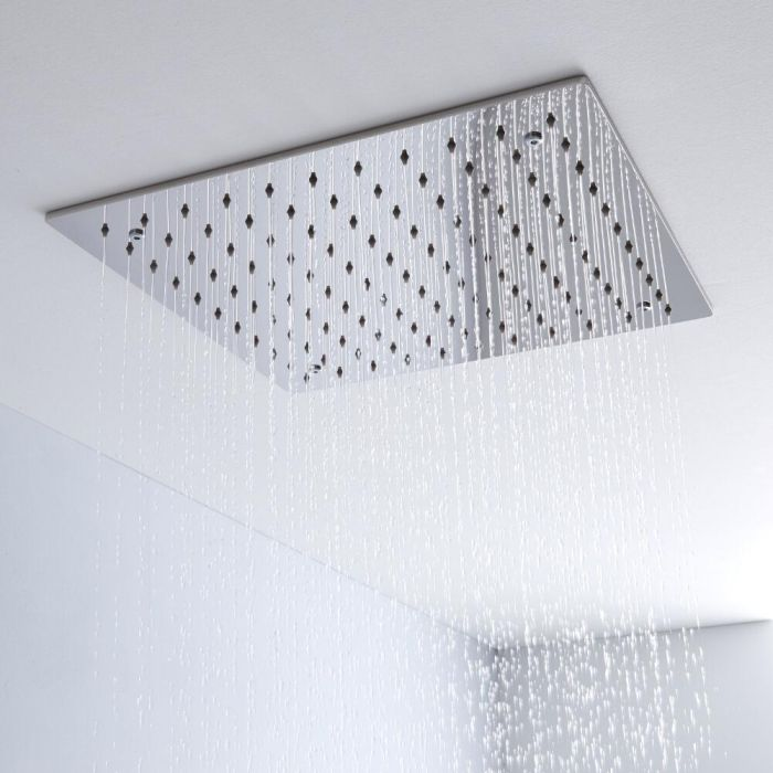 Milano 400mm Square Ceiling Tile Fixed Shower Head Chrome