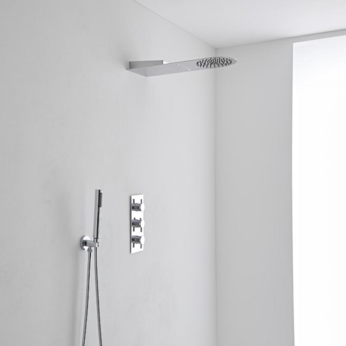 Milano Round Shower Head with Waterfall, Handset & Thermostatic Shower Mixer Kit