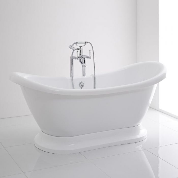 Milano Meldon White Double Ended Freestanding Bath with Base 1750 x 725mm
