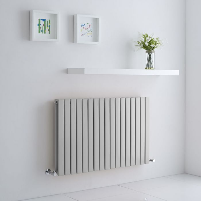Milano Capri - Light Grey Flat Panel Horizontal Designer Radiator - 635mm x 1000mm (Double Panel)