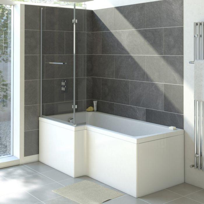 Milano 1700mm Square Shower Bath Left Hand