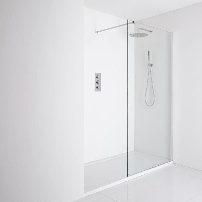 Milano Portland Recessed Walk-In Shower Enclosure (1600 x 800mm) - Inc. Tray