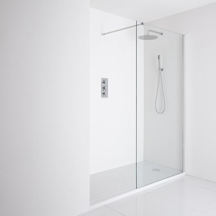Milano Portland Recessed Walk-In Shower Enclosure (1600 x 800mm) - Inc. Walk-in Tray