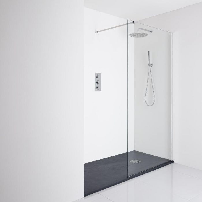 Milano Portland Recessed Walk-In Shower Enclosure (1400 x 900mm) - Inc. Slate Tray