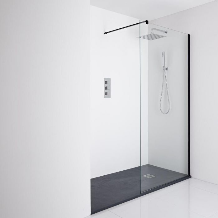 Milano Nero Recessed Walk-In Shower Enclosure (1700 x 900mm) - Inc. Slate Tray