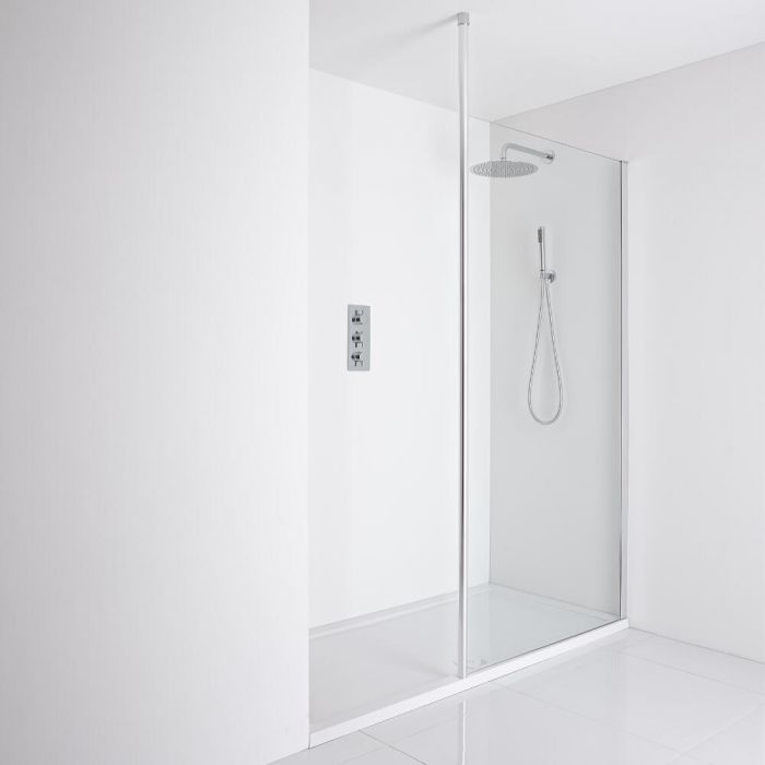 Milano Alto Recessed Walk-In Shower Enclosure (1600 x 800mm) - Inc. Tray