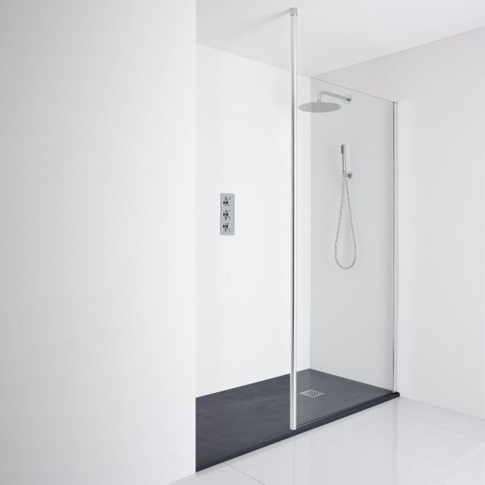 Milano Alto Recessed Walk-In Shower Enclosure (1400 x 800mm) - Inc. Slate Tray