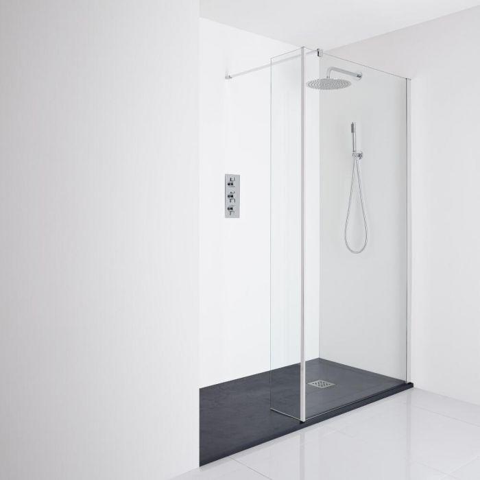Milano Portland Recessed Walk-In Shower Enclosure (1400 x 900mm) - Inc. Slate Tray & Return Panel