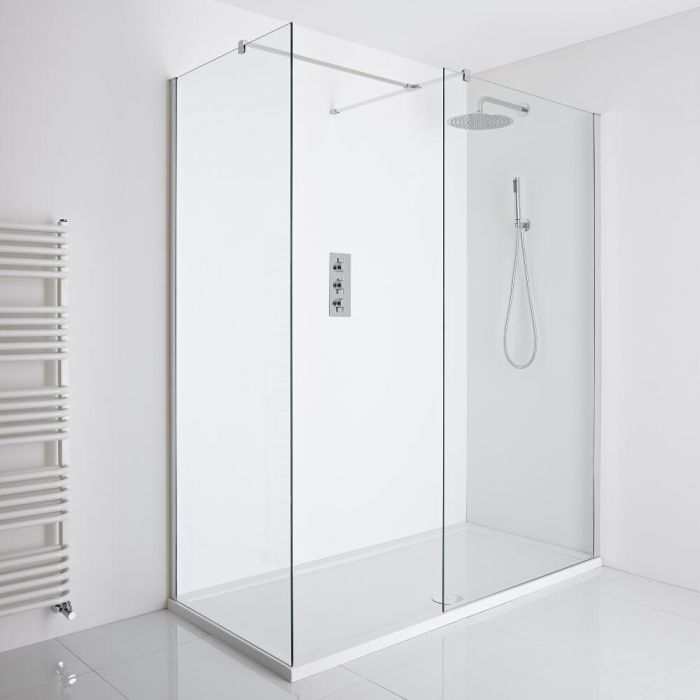 Milano Portland Corner Walk-In Shower Enclosure (1100 x 760mm) - Inc. Tray