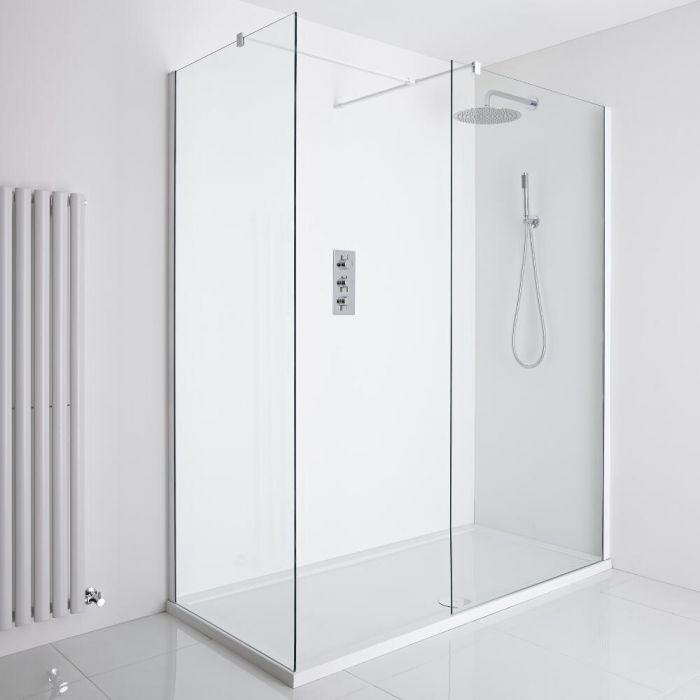 Milano Bianco Corner Walk-In Shower Enclosure (1400 x 900mm) - Inc. Tray