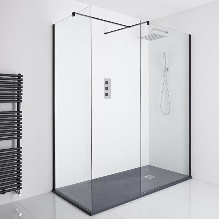 Milano Nero Corner Walk-In Shower Enclosure (1400 x 800mm) - Inc. Slate Tray