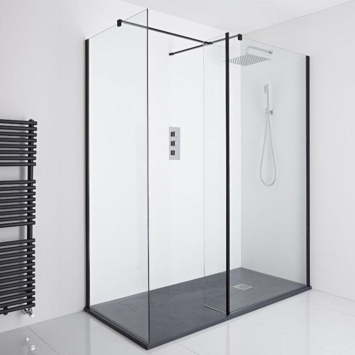 Milano Nero Corner Walk-In Shower Enclosure (1400 x 800mm) - Inc. Slate Tray & Return Panel