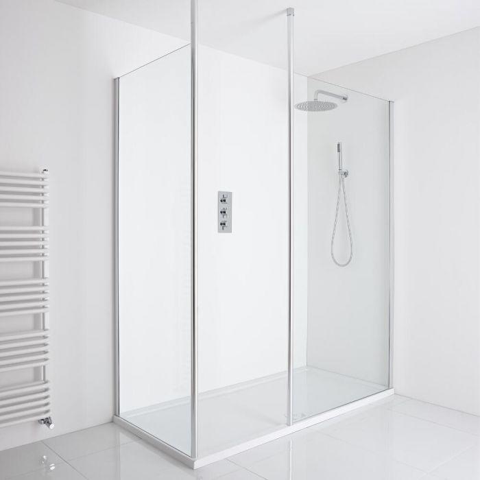Milano Alto Corner Walk-In Shower Enclosure (1600 x 800mm) - Inc. Tray