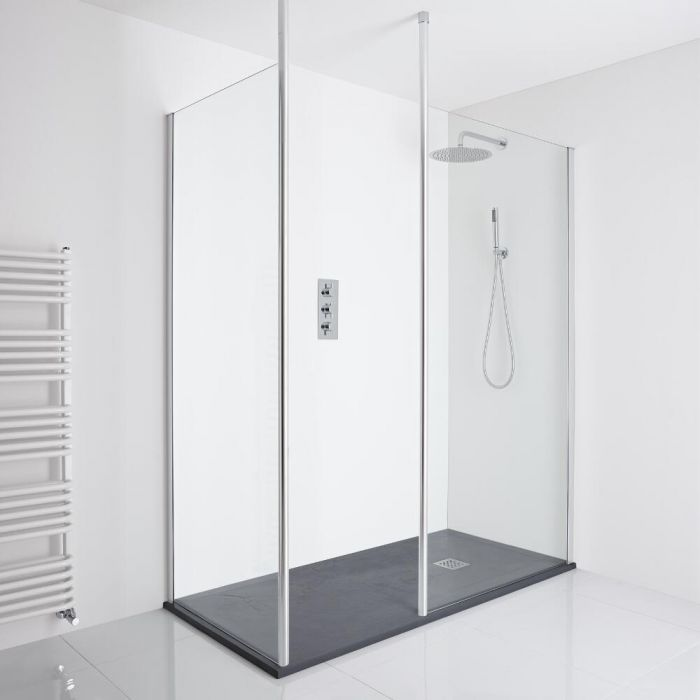 Milano Alto Corner Walk-In Shower Enclosure (1700 x 900mm) - Inc. Slate Tray