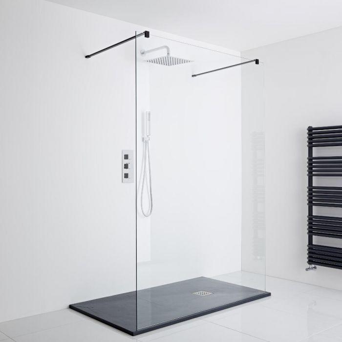Milano Nero Floating Walk-In Shower Enclosure (1400 x 800mm)