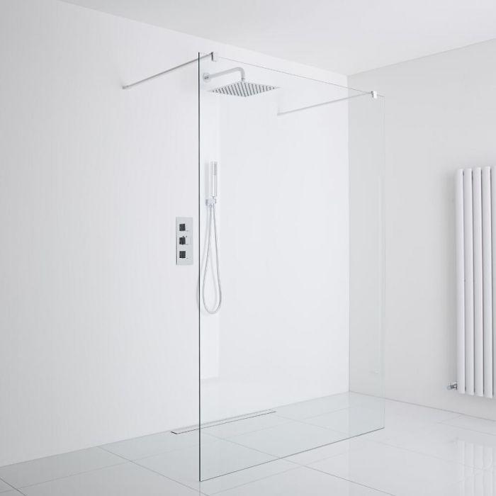Milano Bianco Floating Wet-Room Shower Enclosure (1000mm Glass) - Inc. Drain