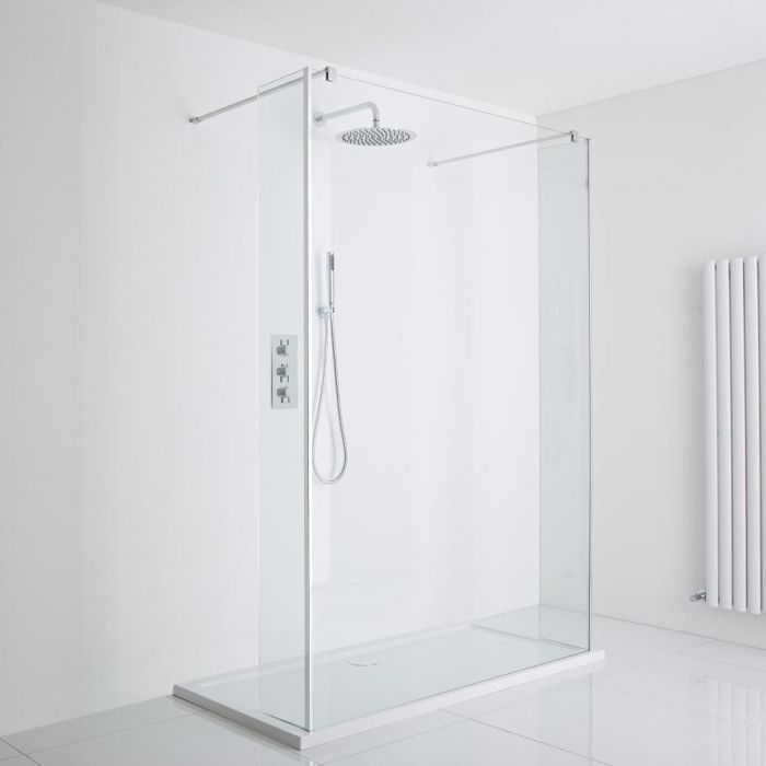 Milano Portland Floating Walk-In Shower Enclosure (1000 x 900mm) - Includes Tray