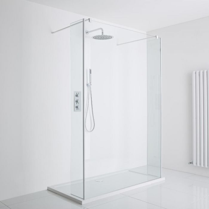 Milano Bianco Floating Walk-In Shower Enclosure (1000 x 800mm) - Includes Tray