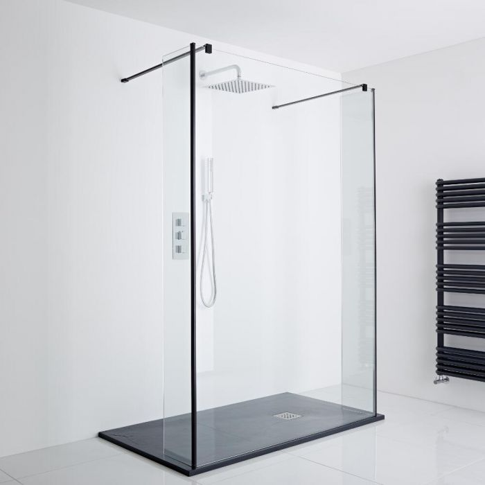 Milano Nero Floating Walk-In Shower Enclosure (1400 x 900mm) - Includes Slate Tray
