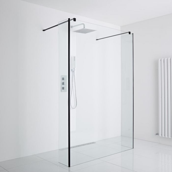 Milano Nero Floating Wet-Room Shower Enclosure (1000mm Glass) - Includes Drain