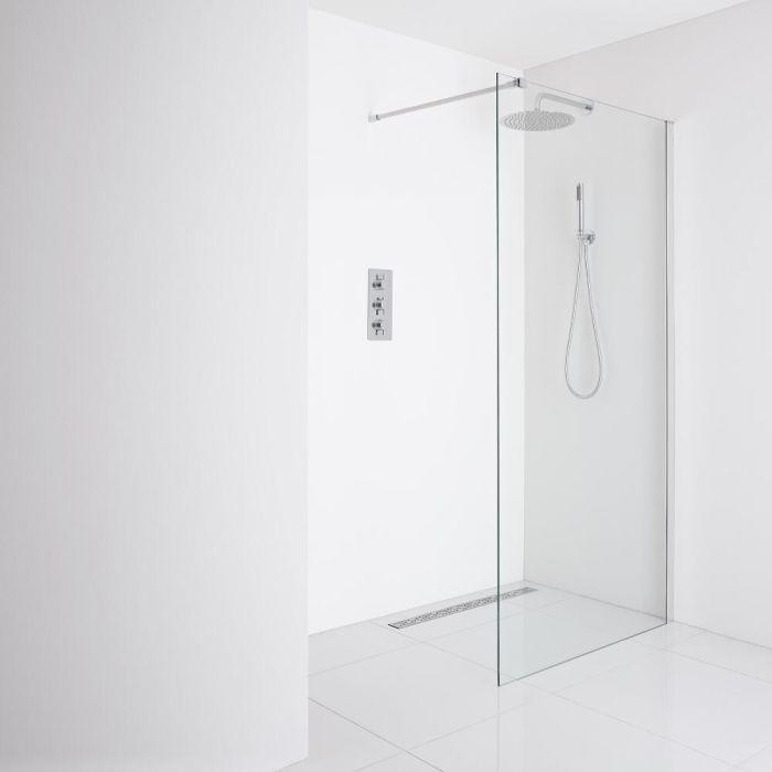 Milano Portland Recessed Wet-Room Shower Enclosure (1000mm Glass) - Inc. Drain