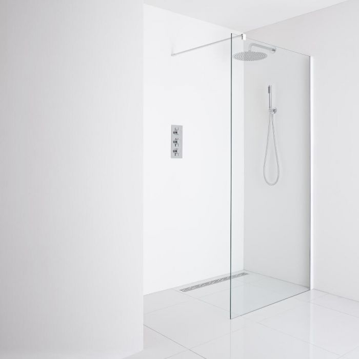 Milano Bianco Recessed Wet-Room Shower Enclosure (1000mm Glass) - Inc. Drain