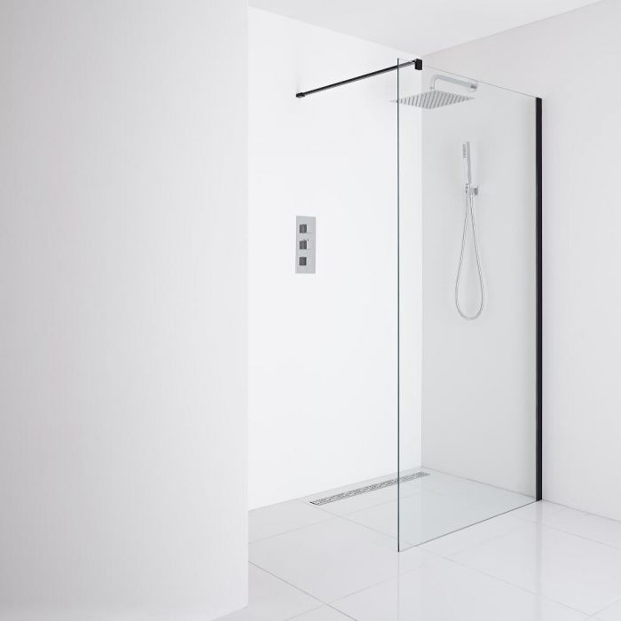 Milano Nero Recessed Wet-Room Shower Enclosure (1400mm Glass) - Inc. Drain