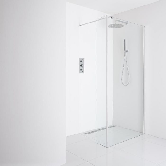 Milano Portland Recessed Wet-Room Shower Enclosure (1200mm Glass) - Inc. Drain & Return Panel