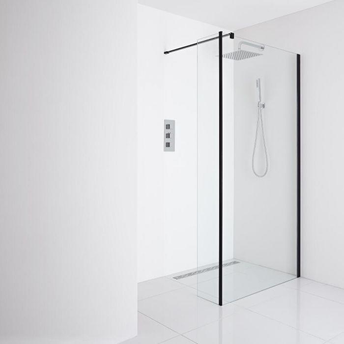 Milano Nero Recessed Wet-Room Shower Enclosure (1200mm Glass) - Inc. Drain & Return Panel