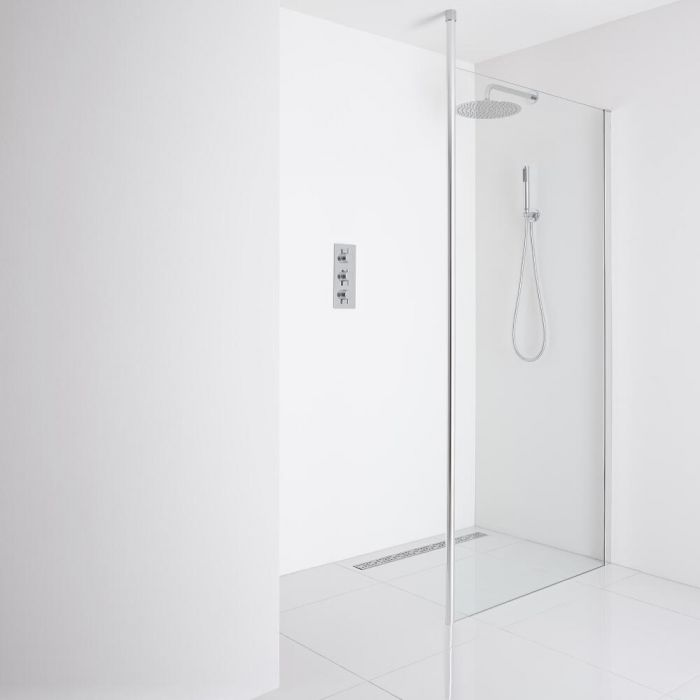 Milano Alto Recessed Wet-Room Shower Enclosure (1400mm Glass) - Inc. Drain